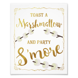 gold Wedding s'more sign party s'more Photographic Print