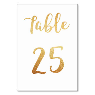 Gold wedding table number. Foil decor. Table 25 Table Cards