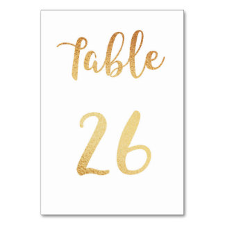 Gold wedding table number. Foil decor. Table 26 Table Cards