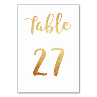 Gold wedding table number. Foil decor. Table 27 Table Cards