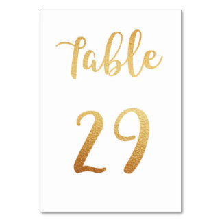 Gold wedding table number. Foil decor. Table 29 Table Cards