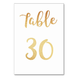 Gold wedding table number. Foil decor. Table 30 Table Cards
