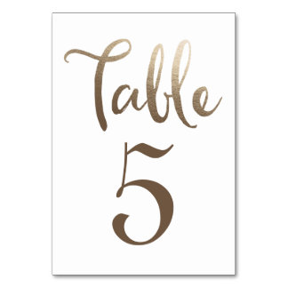 Gold Wedding Table Number Typography Cards Table Cards