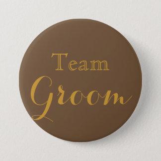 Gold Wedding Team Groom 7.5 Cm Round Badge