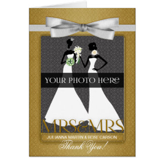 Gold Wedding Thank You from Two Brides Greeting Card