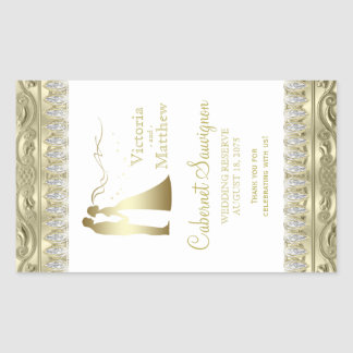 Gold Wedding Wine Bottle Labels Rectangular Sticker