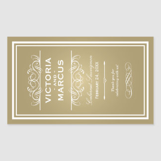 Gold Wedding Wine Bottle Monogram Favor Labels Rectangular Sticker