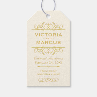 Gold Wedding Wine Bottle Monogram Favor Tags