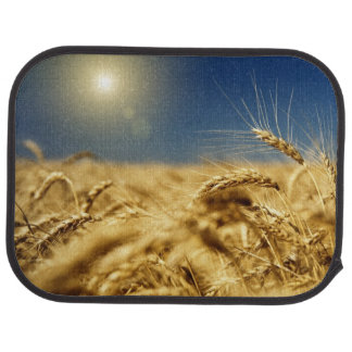 Gold wheat and blue sky with sun car mat