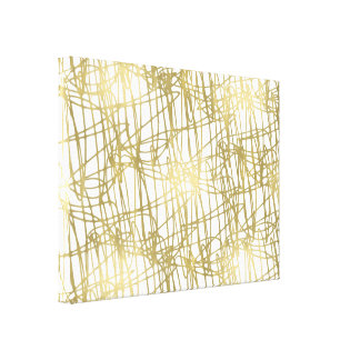 Gold White Abstract Lines Canvas Print