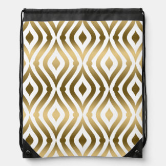 Gold & White Abstract Teardrops Modern Pattern Backpack
