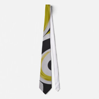 Gold white and black abstract arty tie