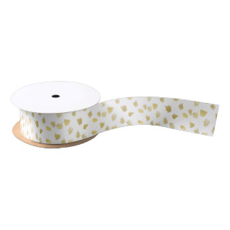Gold White Animal Print Abstract Satin Ribbon