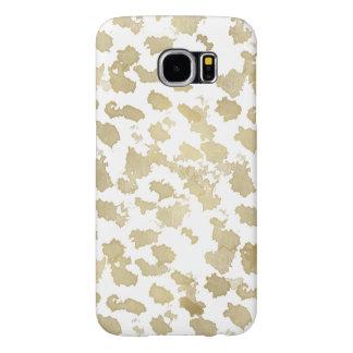 Gold White Animal Print Samsung Galaxy S6 Cases