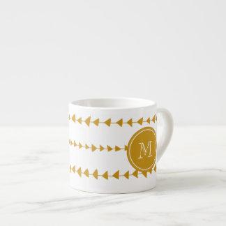 Gold White Aztec Arrows Monogram Espresso Cup