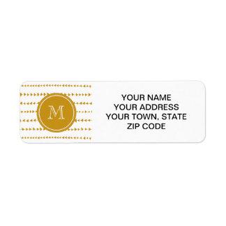Gold White Aztec Arrows Monogram Return Address Label