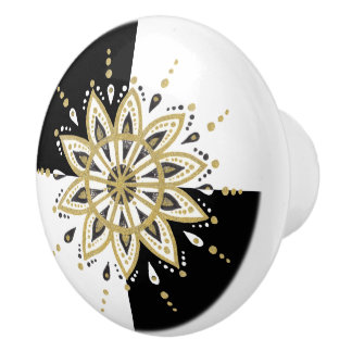 Gold white & black mandala geometric background ceramic knob