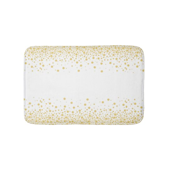 Gold & White Bokeh circles dots Bath Mat