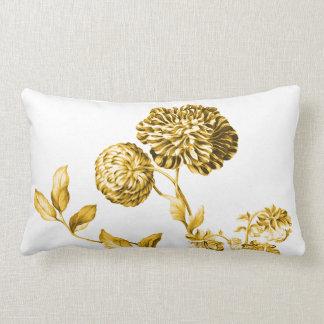 Gold & White Botanical Floral Toile Lumbar Cushion