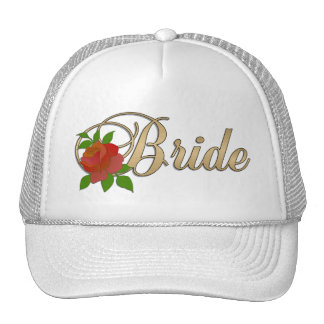 Gold white Bride CAP with Rose Mesh Hats