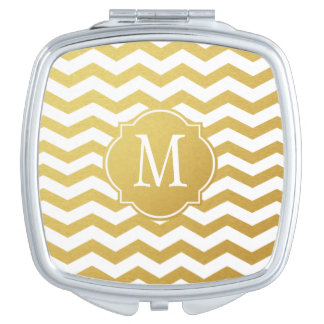 Gold & White Chevron Monogram Makeup Mirror