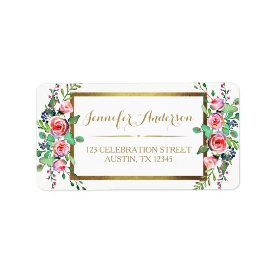 Gold White Chic Beautiful Floral Roses Address Label
