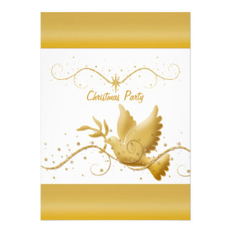 Gold white Christmas party dove of peace template Custom Invitations