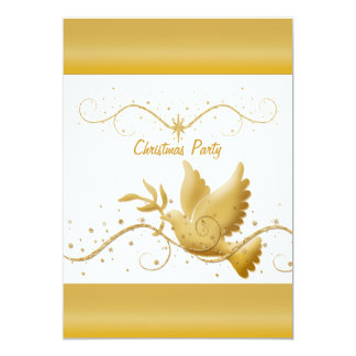 Gold white Christmas party dove of peace template 5x7 Paper Invitation Card