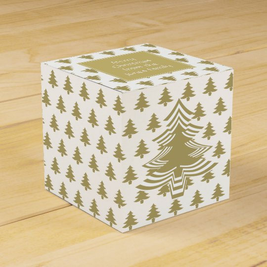 Gold/White Christmas Party Favour Font Tree Favour Box