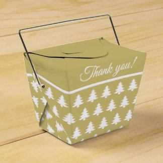 Gold/White Christmas Party Tree  Font Pattern Favour Box