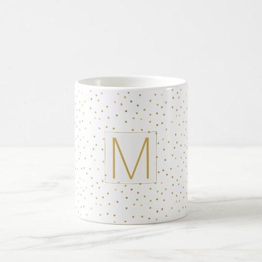 Gold White Confetti Monogram Coffee Mug