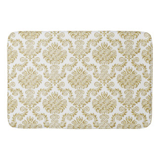 Gold & White Damask Pattern{pick your color} Bath Mat