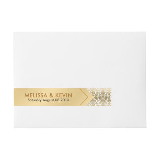 Gold & White Damasks Geometric Design Wraparound Address Label