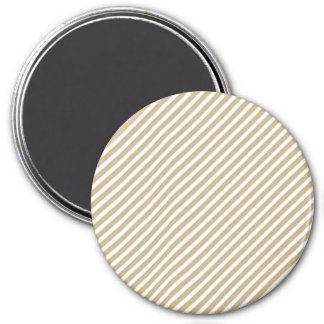 Gold & White Diagonal Christmas Candy Cane Stripes Refrigerator Magnets