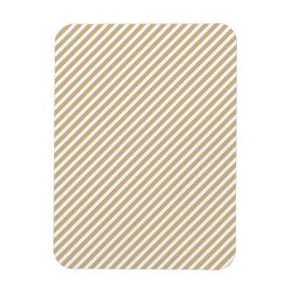 Gold & White Diagonal Christmas Candy Cane Stripes Rectangular Magnet