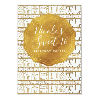 Gold White Egyptian Egypt Glam Sweet 16 Party Card