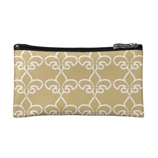 Gold White Fleur de Lis Chain Pattern Makeup Bag