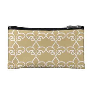 Gold White Fleur de Lis Chain Pattern Cosmetic Bag