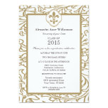 Gold White Fleur de Lis Floral Formal Graduation 13 Cm X 18 Cm Invitation Card