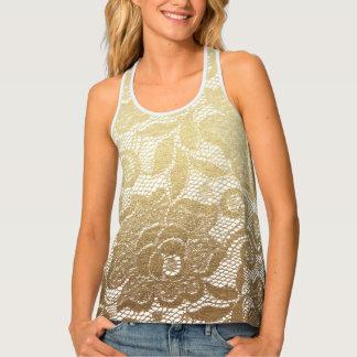 Gold & White Floral Faux Lace Tank Top