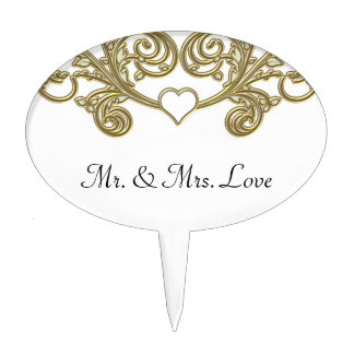 Gold & White Floral Joining Heart Wedding Cake Toppers