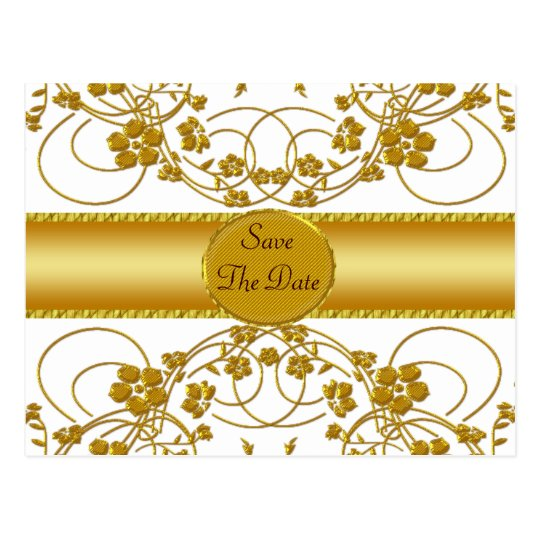 Gold & White Floral Wedding Monogram Postcard