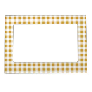Gold White Gingham Pattern Magnetic Picture Frame