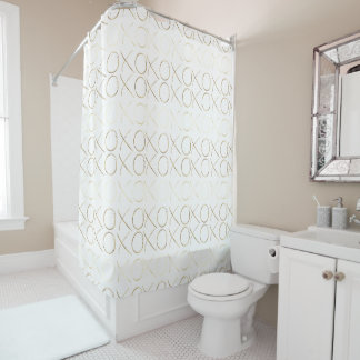 Gold White Glam XOXO Shower Curtain