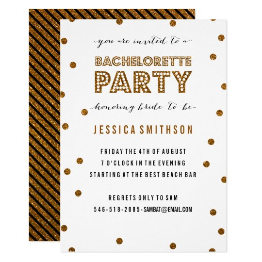Gold White Glitter Confetti Bachelorette Party Card