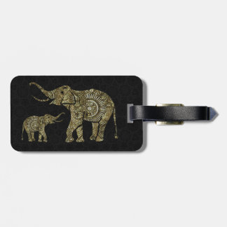 Gold & White Glitter & Sparkles Floral Elephant 2 Luggage Tag