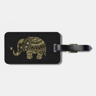 Gold & White Glitter & Sparkles Floral Elephant Luggage Tag