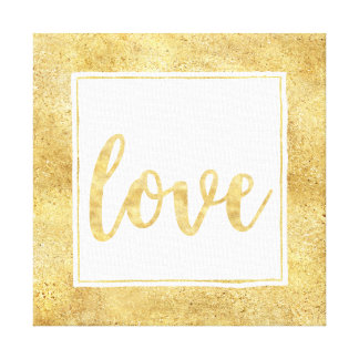 Gold White Glitzy Love Canvas Print