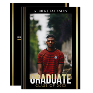 Gold White Graduate Typography | Photo Graduation Card