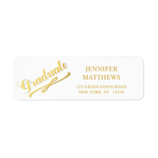 Gold White Graduation Return Address Label